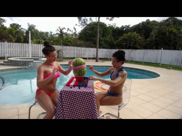 College teens in thong bikinis do watermelon test