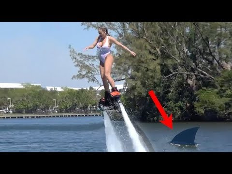 Olivia Austin Flyboard Shark Attack Gag